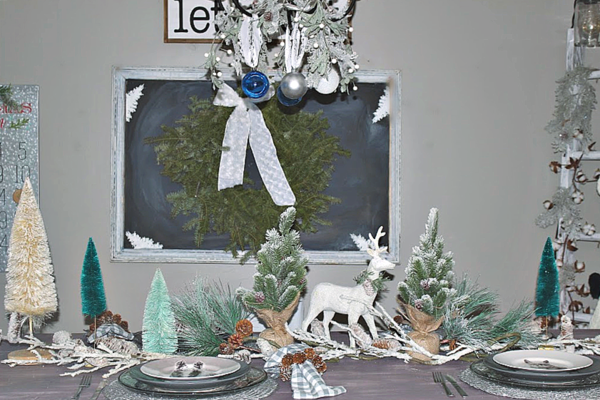 Set A Pretty Christmas Tablescape With A Snowy Woodland Theme Our Crafty Mom