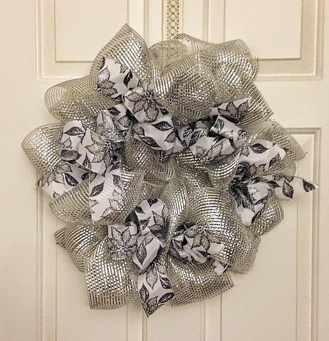 Silver Deco-Mesh Christmas Wreath