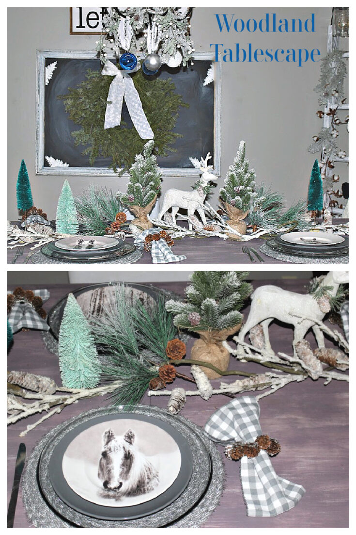 woodland tablescape for Christmas and winter
