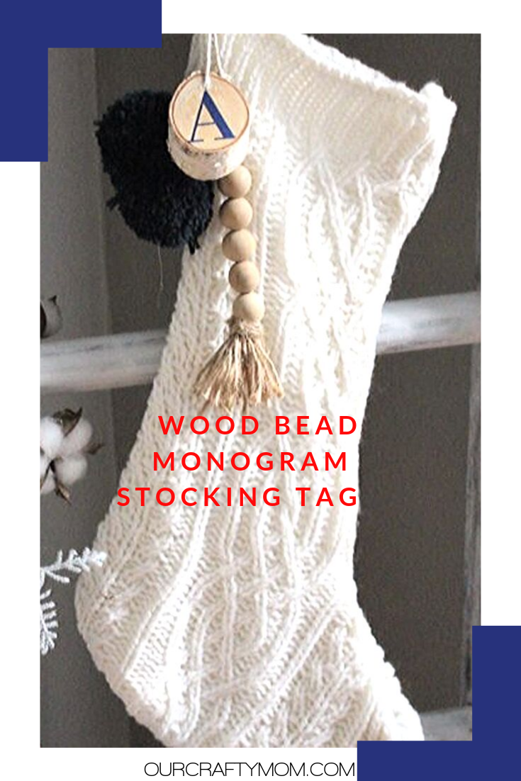wood bead stocking tag pin image