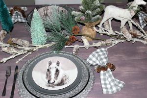 horse dishes christmas tablescape