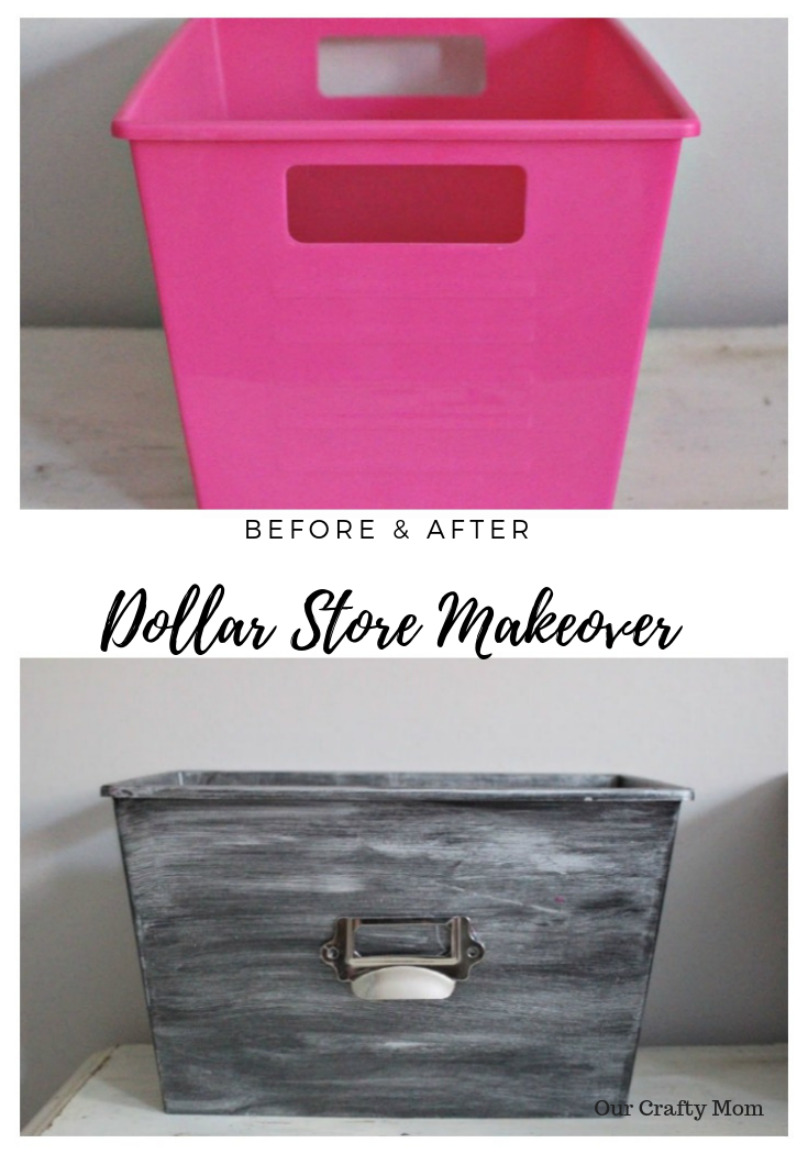 How To Paint Dollar Store Plastic Bins To Look Like Metal Our Crafty Mom