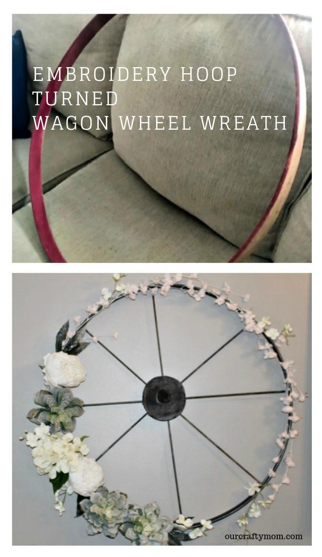 Embroidery Hoop turned Wagon Wheel Wreath