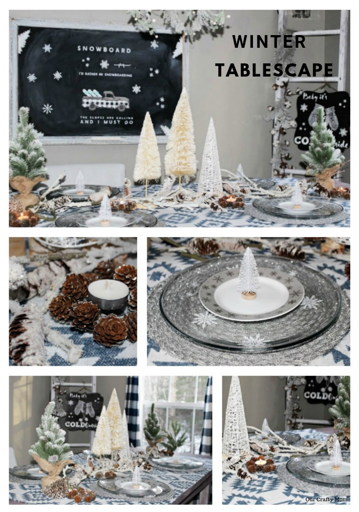 Winter Tablescape With Rustic Elements including pine cones, bottle brush trees and diy chalkboards #ourcraftymom