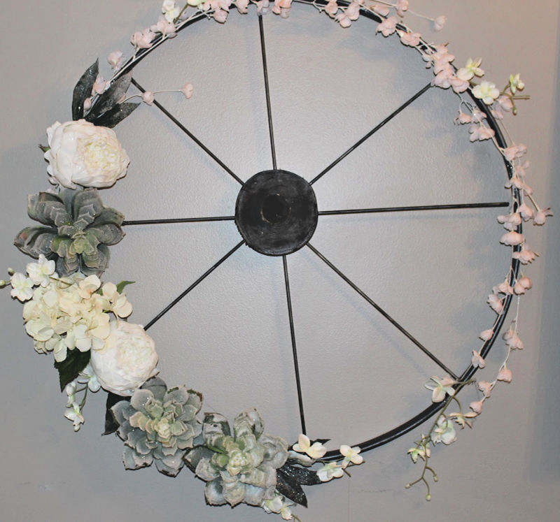 Wagon Wheel Wreath From Embroidery Hoop Our Crafty Mom