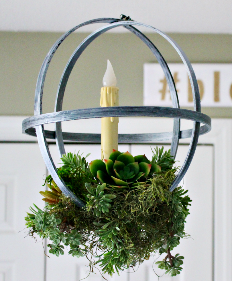 hanging embroidery hoop succulent planter