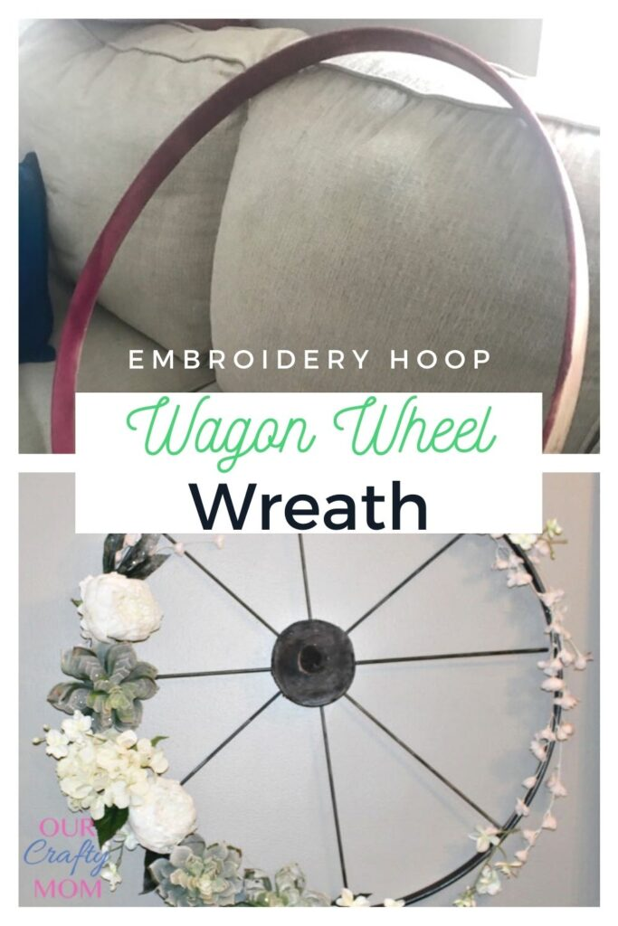 diy wagon wheel wreath from embroidery hoop