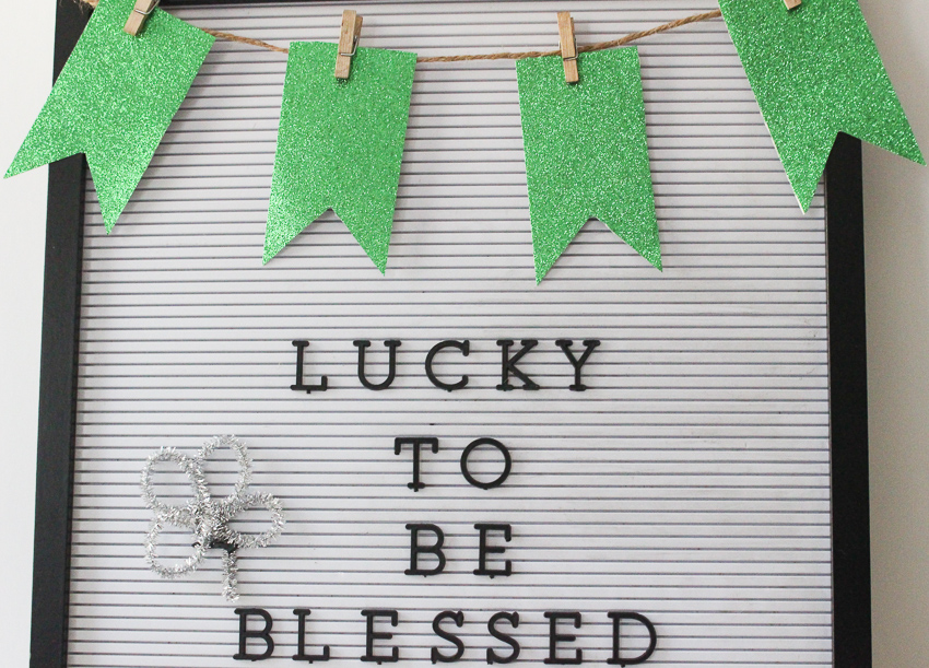 St. Patrick's Day Letter Board Banner Close Up