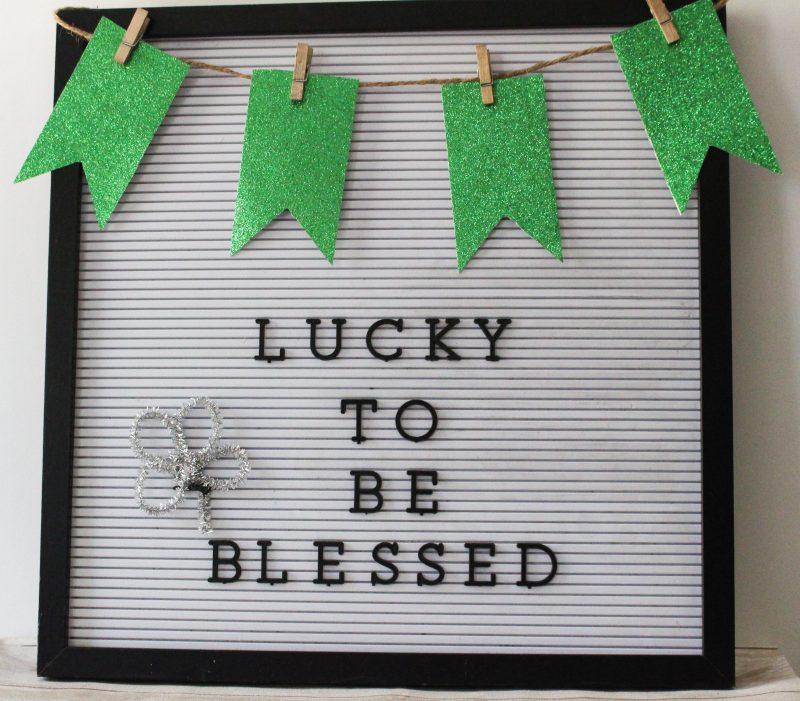 St. Patrick's Day Letter Board Banner #ourcraftymom #stpatricksday