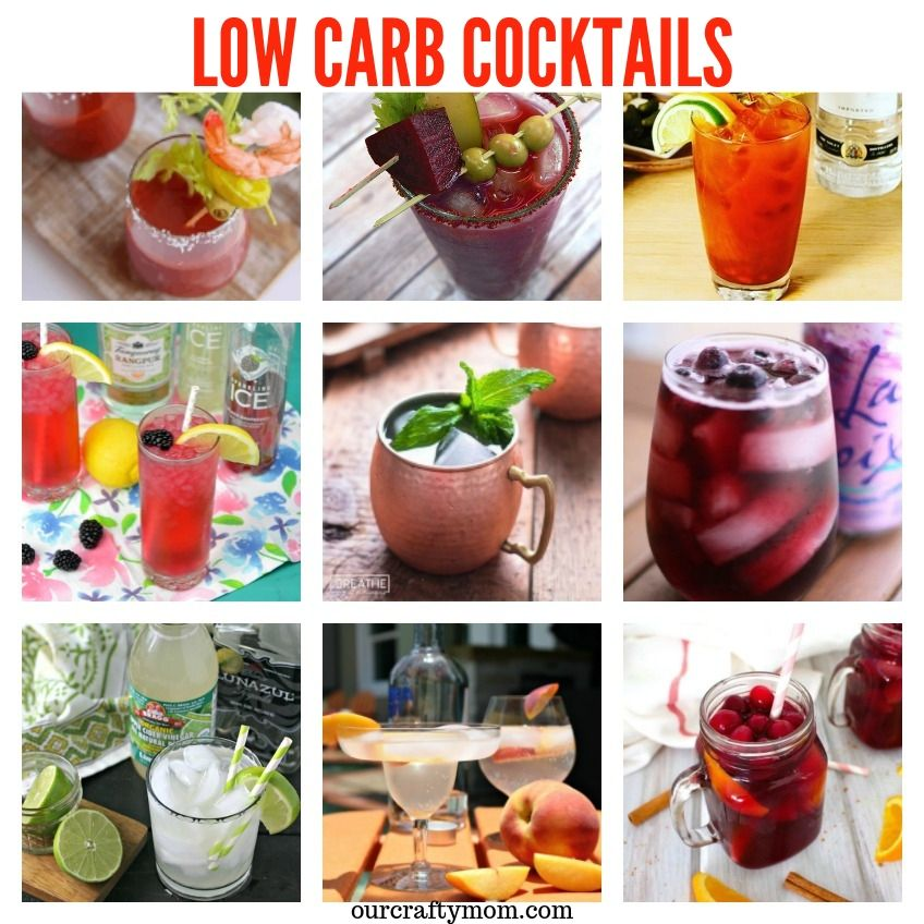 20 Amazing Low Carb Cocktails collage of nine drink recipes