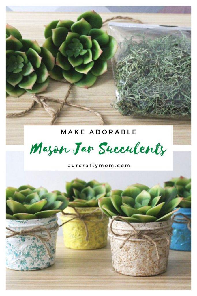diy succulent planters with mason jars