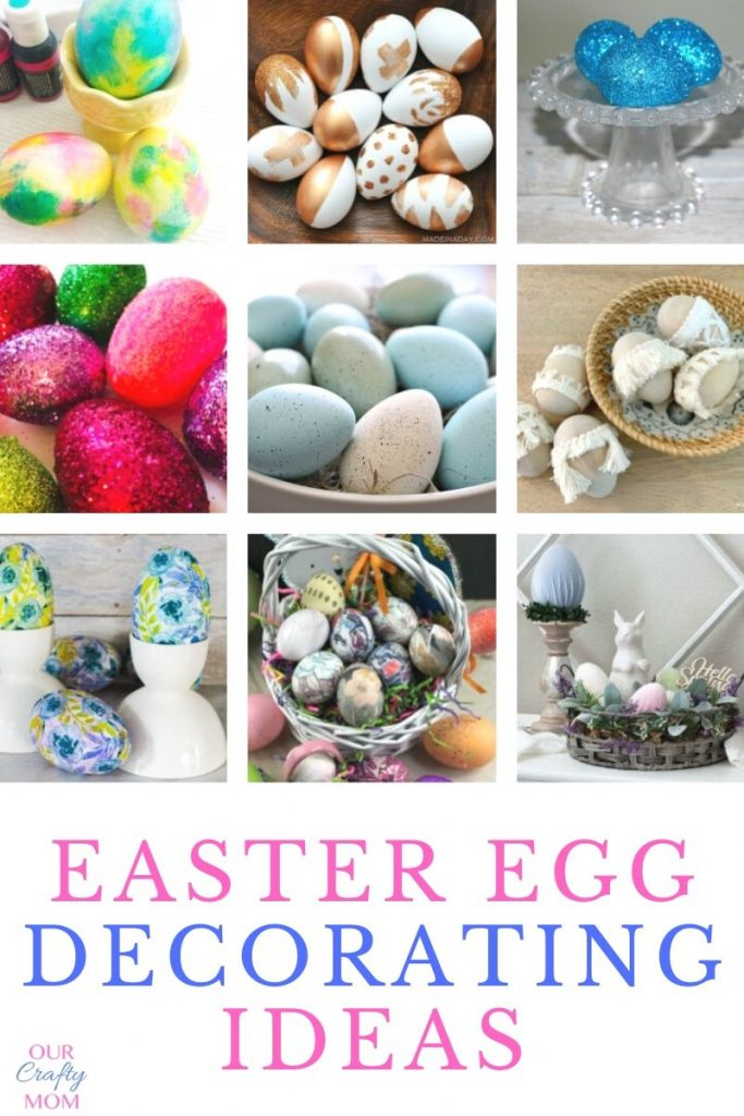 collage of 9 diy easter eggs