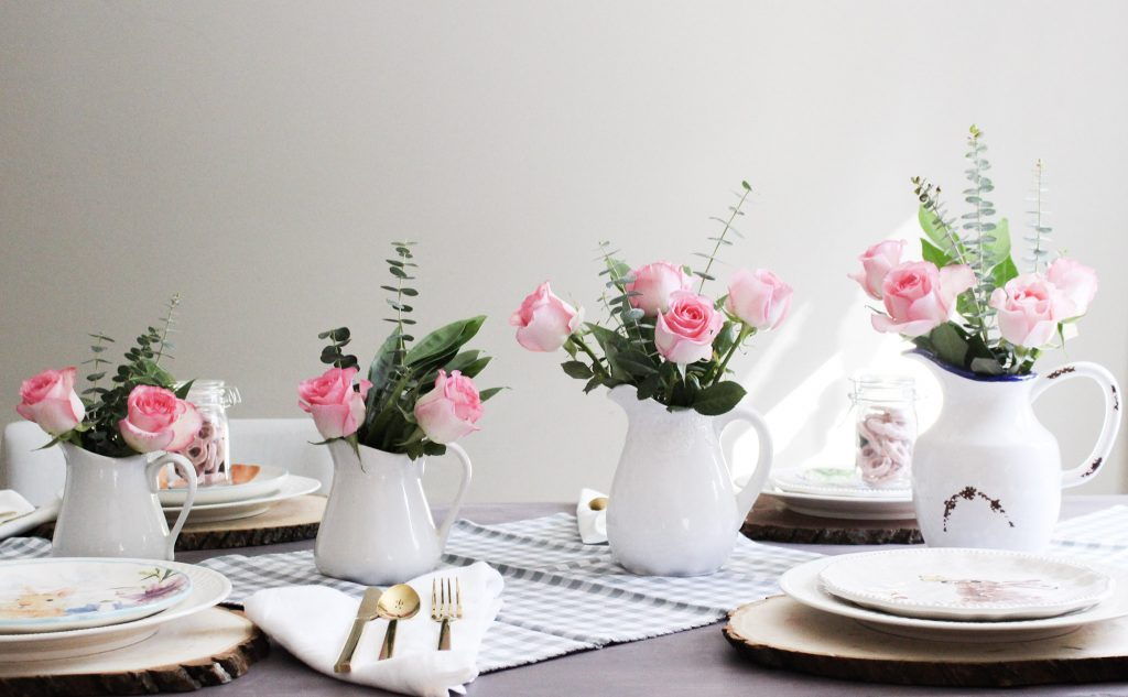 Pink Roses In White Pitchers Spring Tablescape Our Crafty Mom