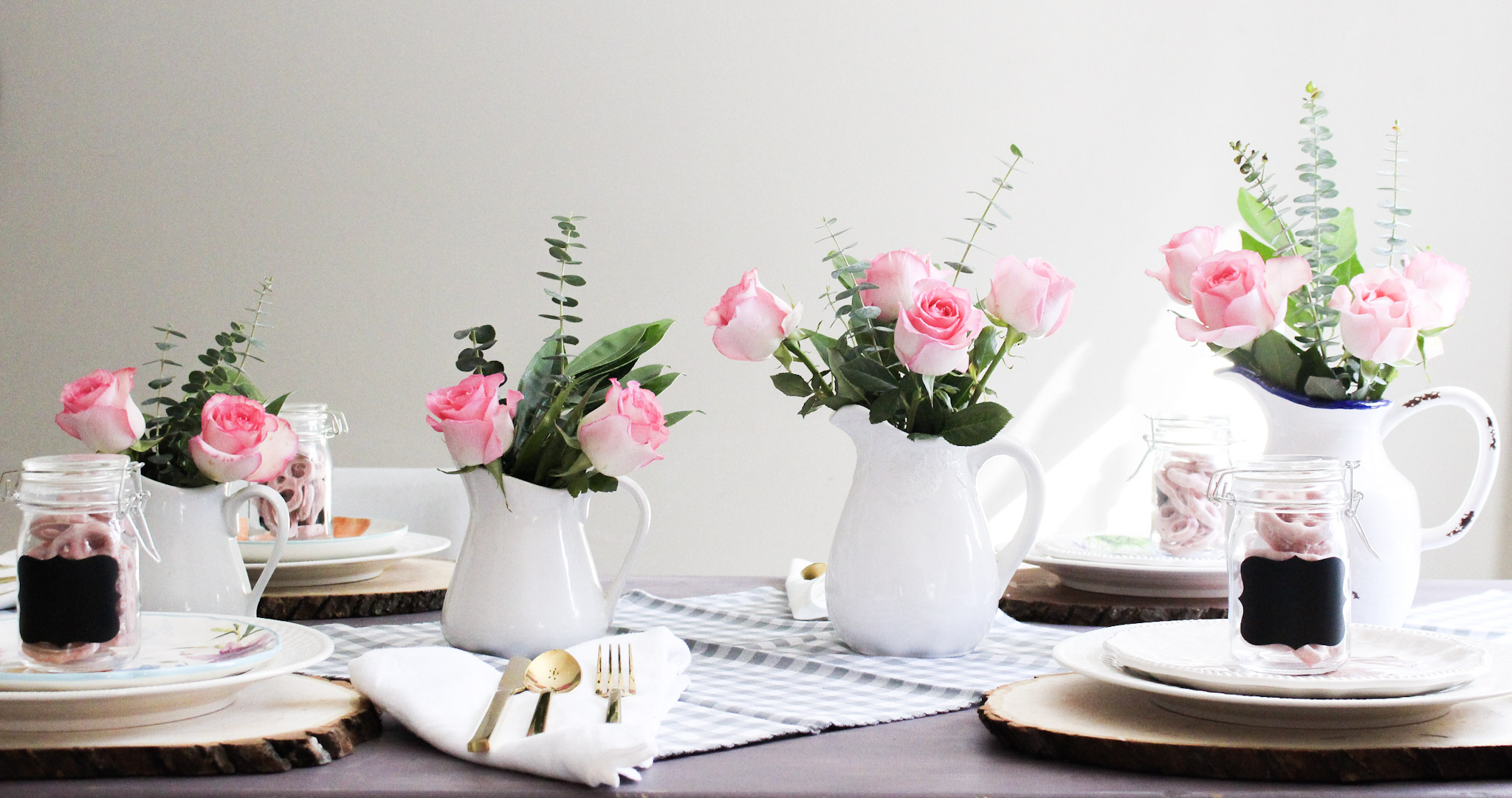 White Pitchers Spring Tablescape Our Crafty Mom