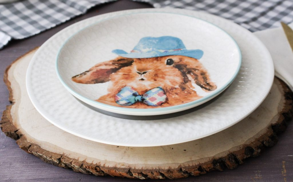 bunny spring dishes used in tablescape our crafty mom