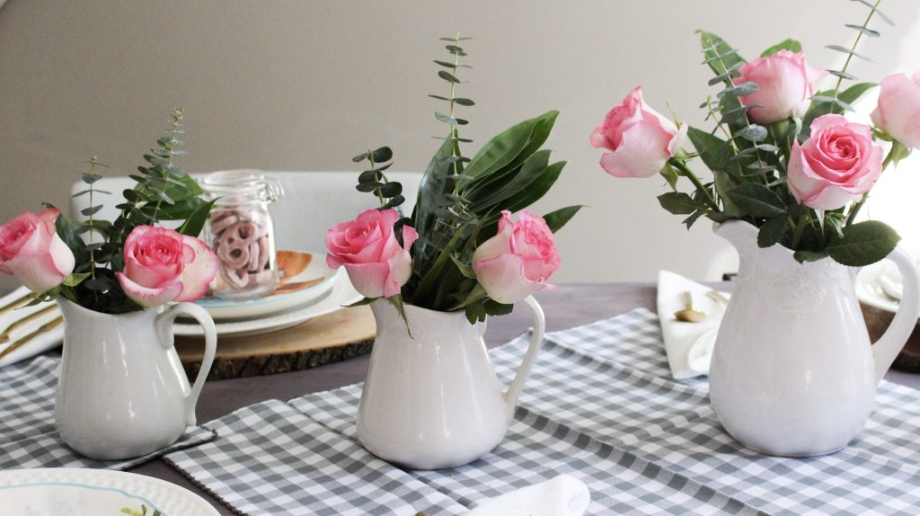 pink roses spring tablescape our crafty mom