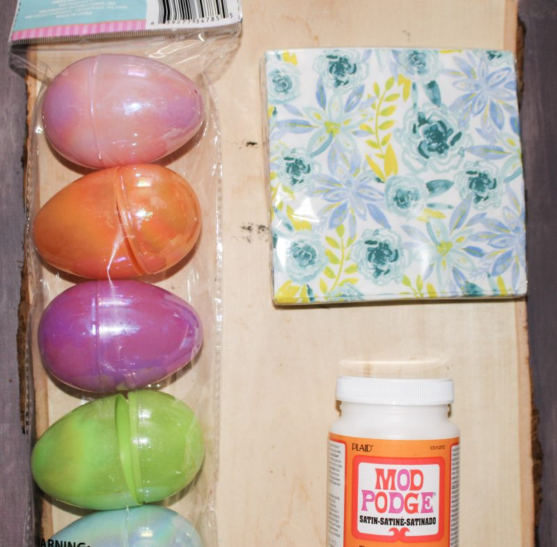supplies for napkin easter eggs with mod podge