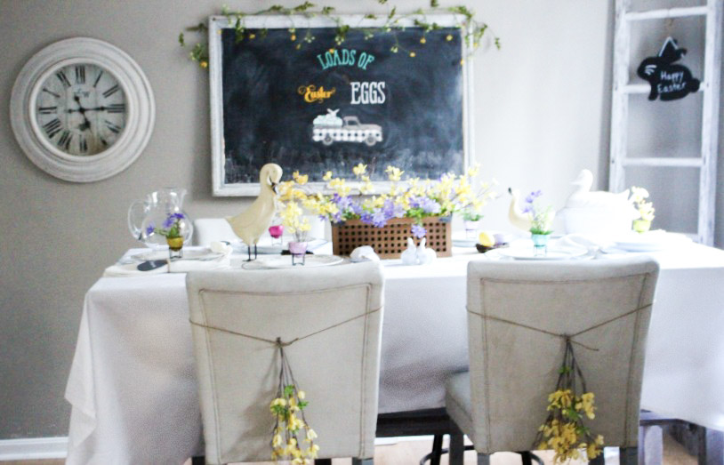 Easter Dining Room Tablescape