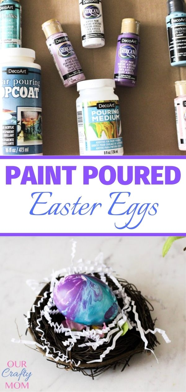 paint poured Easter eggs in nest