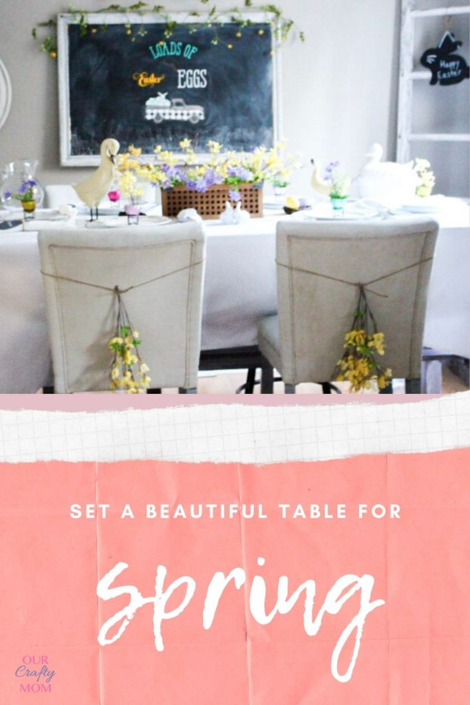 easter tablescape with yellow flowers on white chairs