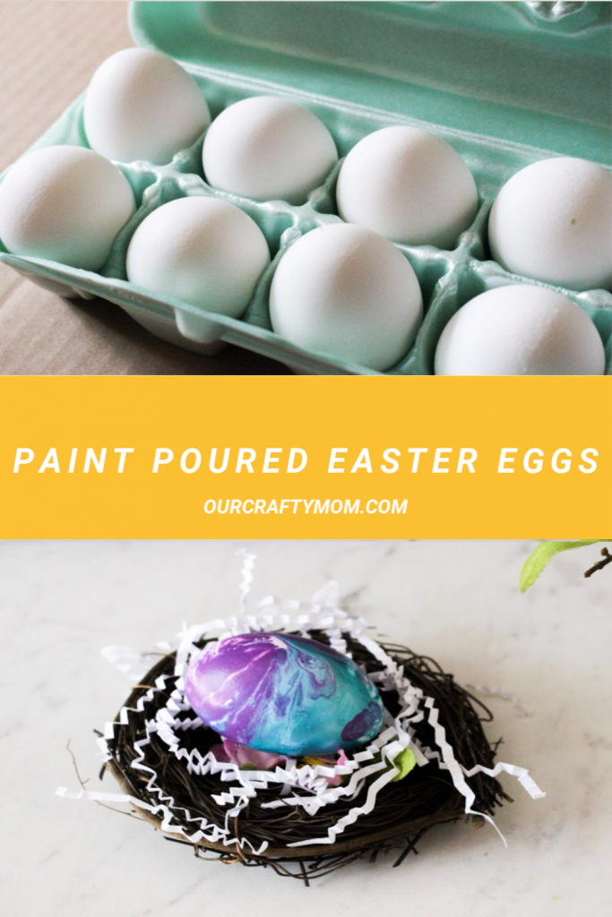 paint pouring on easter eggs