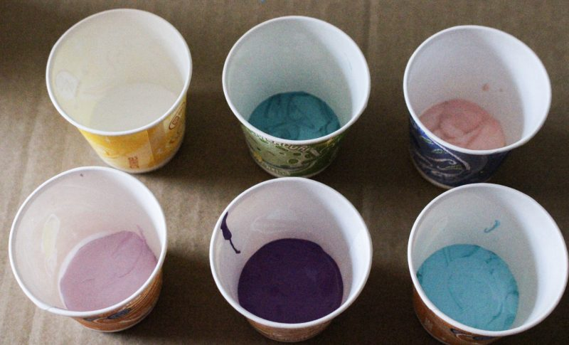 acrylic paint in dixie cups