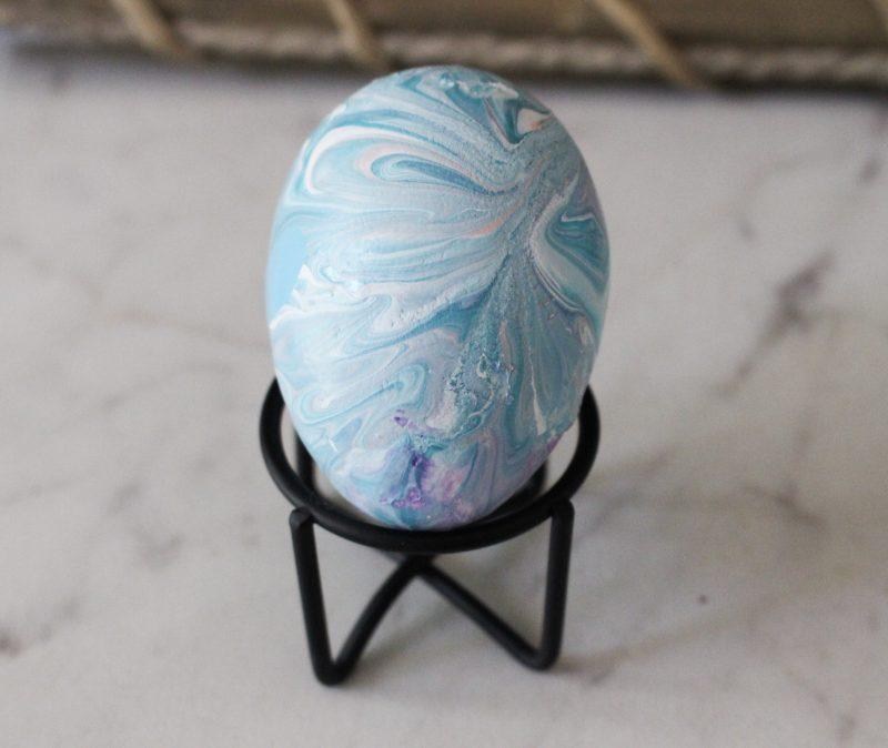 blue shimmer paint poured egg