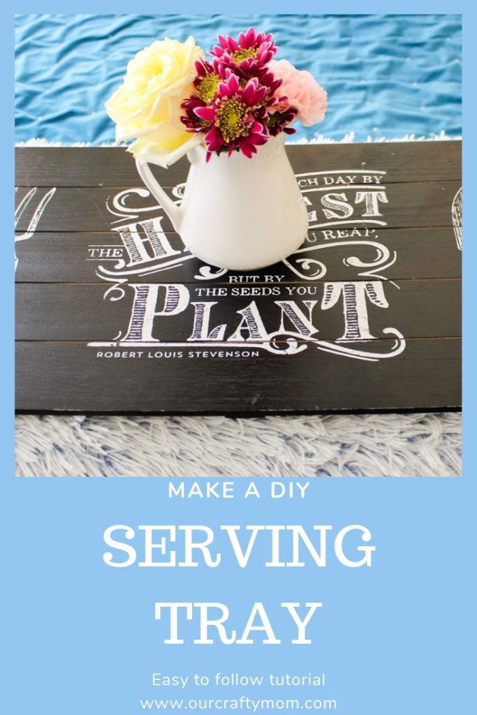diy serving tray with chalk couture transfer