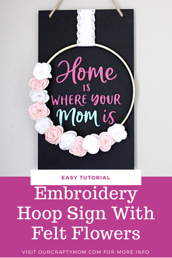 Embroidery Hoop Sign with felt flowers tutorial #ourcraftymom