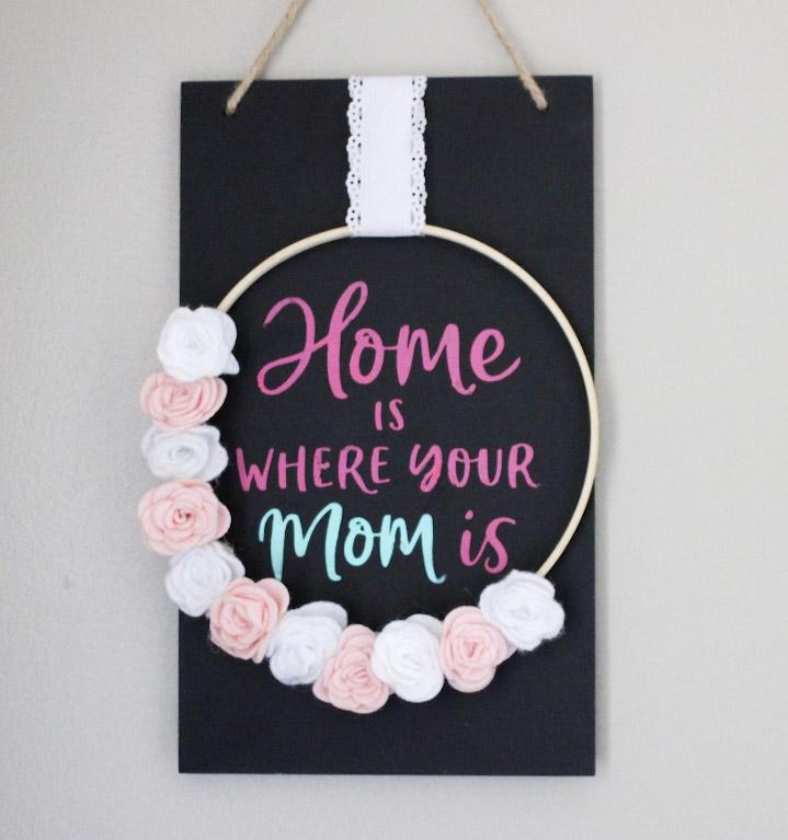 chalkboard sign with felt flowers