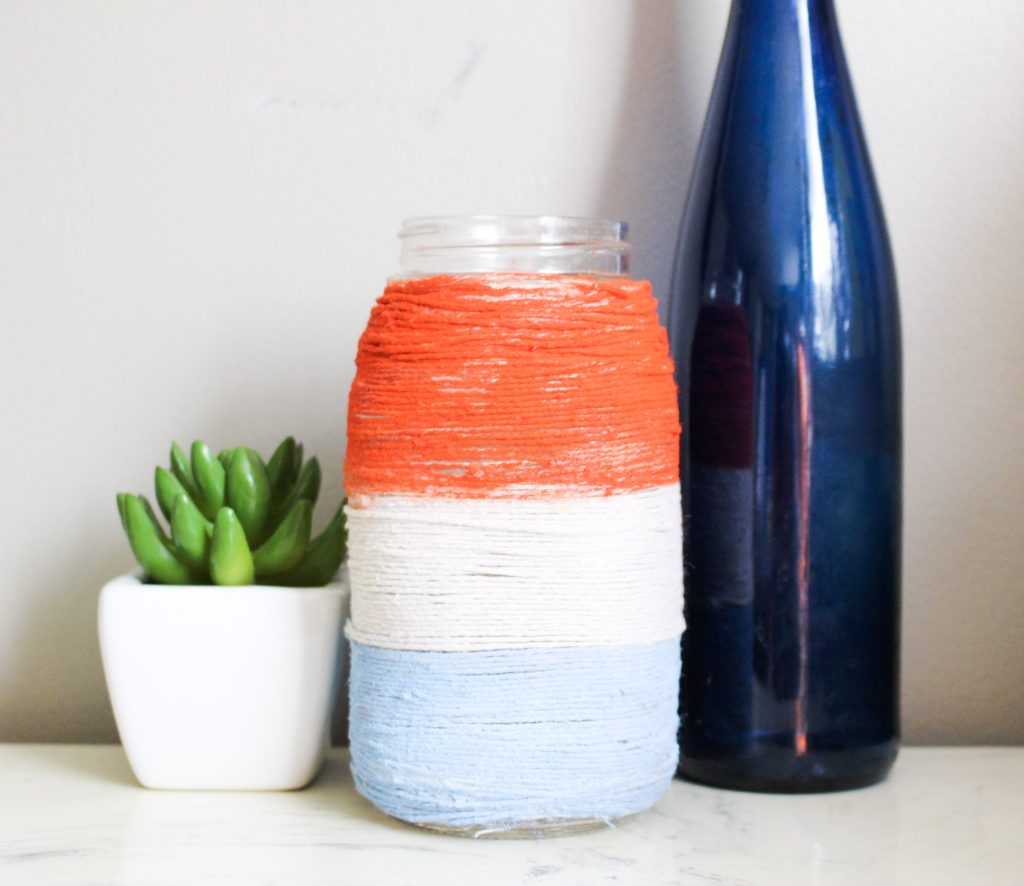mason jar with patriotic twine