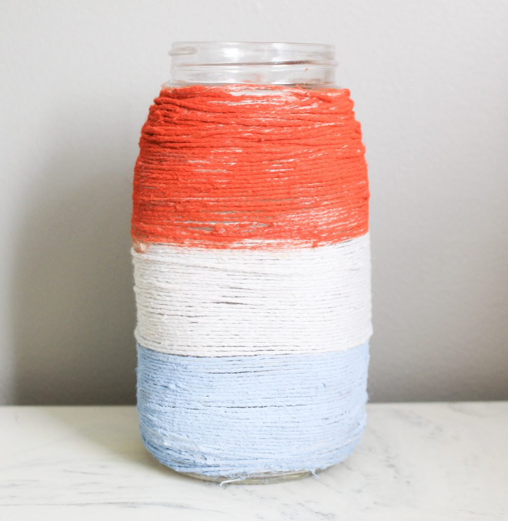 finished twine mason jar patriotic