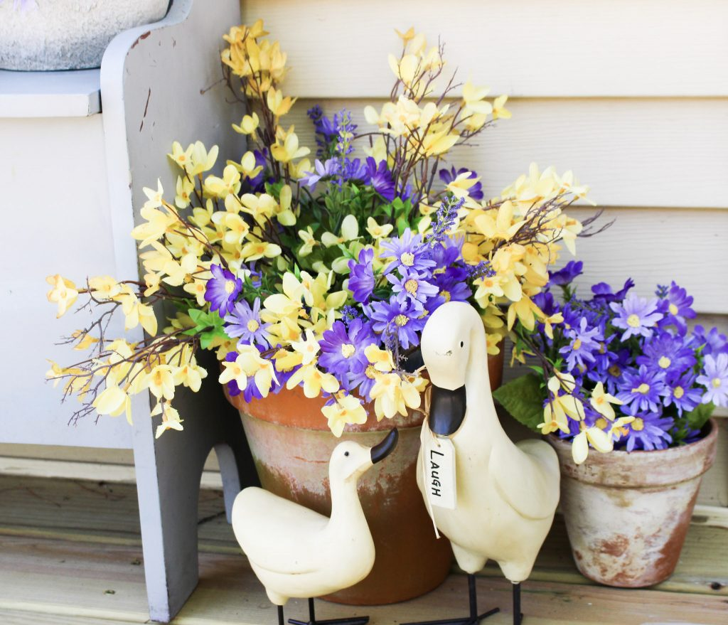 spring flowers on porch