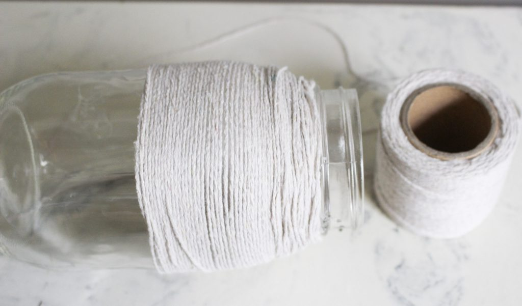 twine wrapped on mason jar