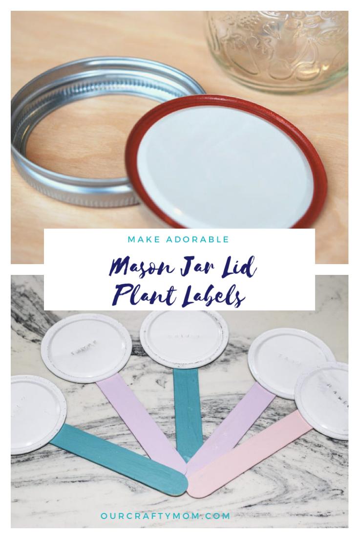 Mason jar lid plant labels