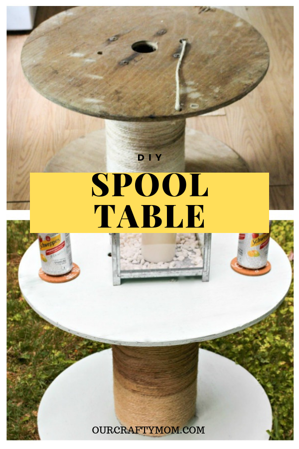 before and after diy spool table