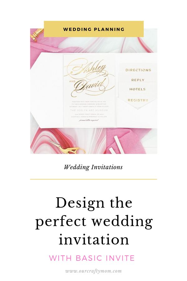 wedding invitation in pink and gold