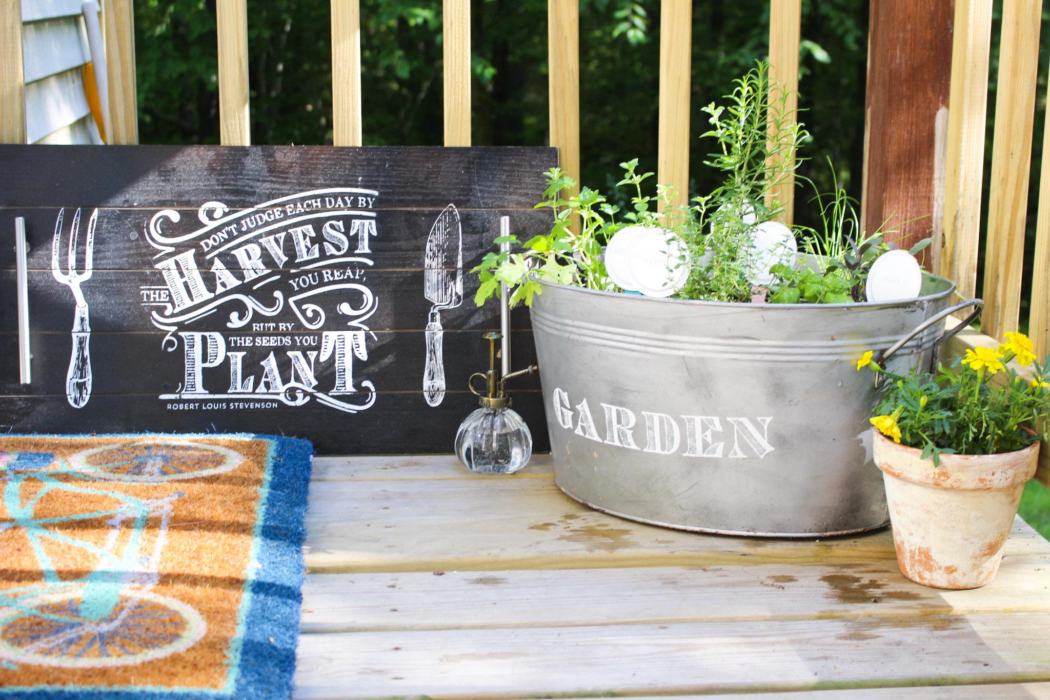 finished herb garden with garden markers