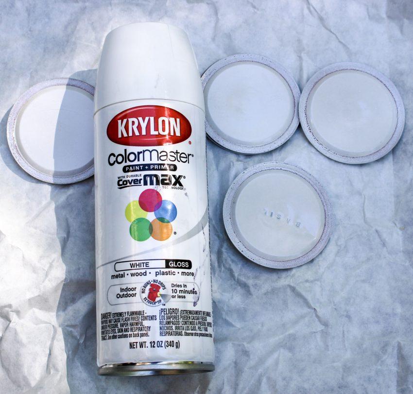 painted mason jar lids