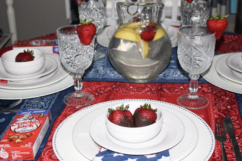 strawberry tablescape