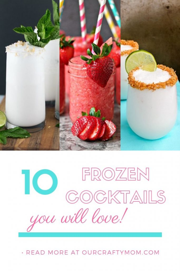 frozen summer cocktails collage of three drink recipes