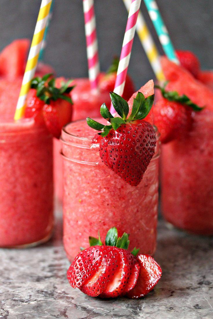 Boozy Strawberry Watermelon Slushies
