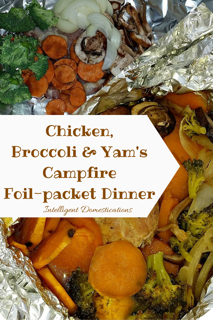 Chicken, Broccoli & Yam Campfire Foil-Pack Dinner