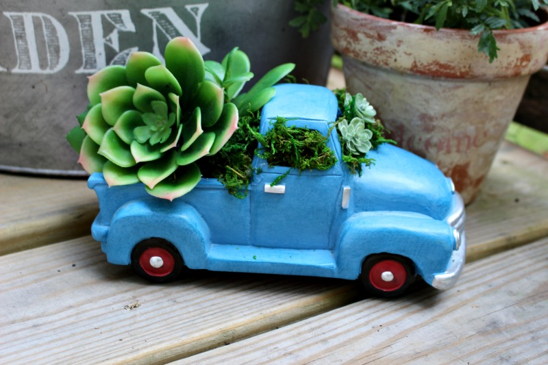 Finished blue truck succulent planter