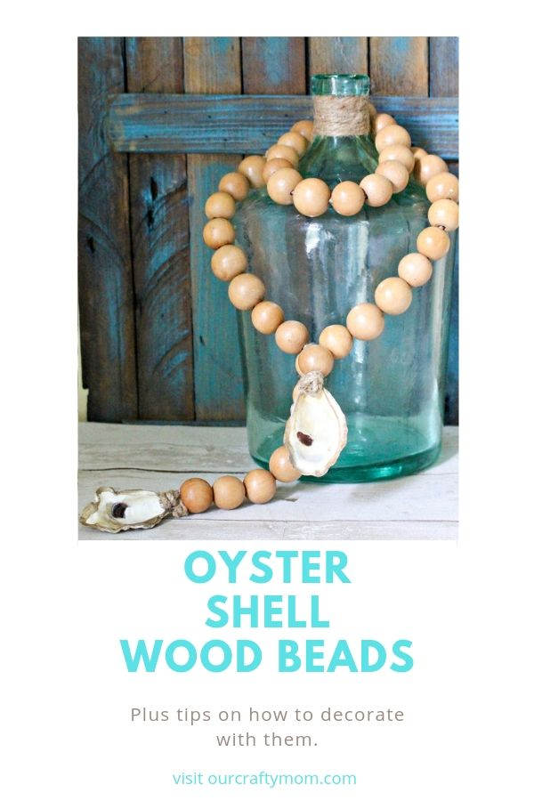 oyster shells on wood beads