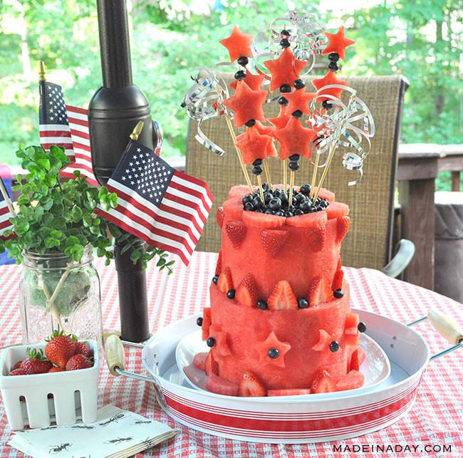 Patriotic Watermelon Layer Cake #Sponsored