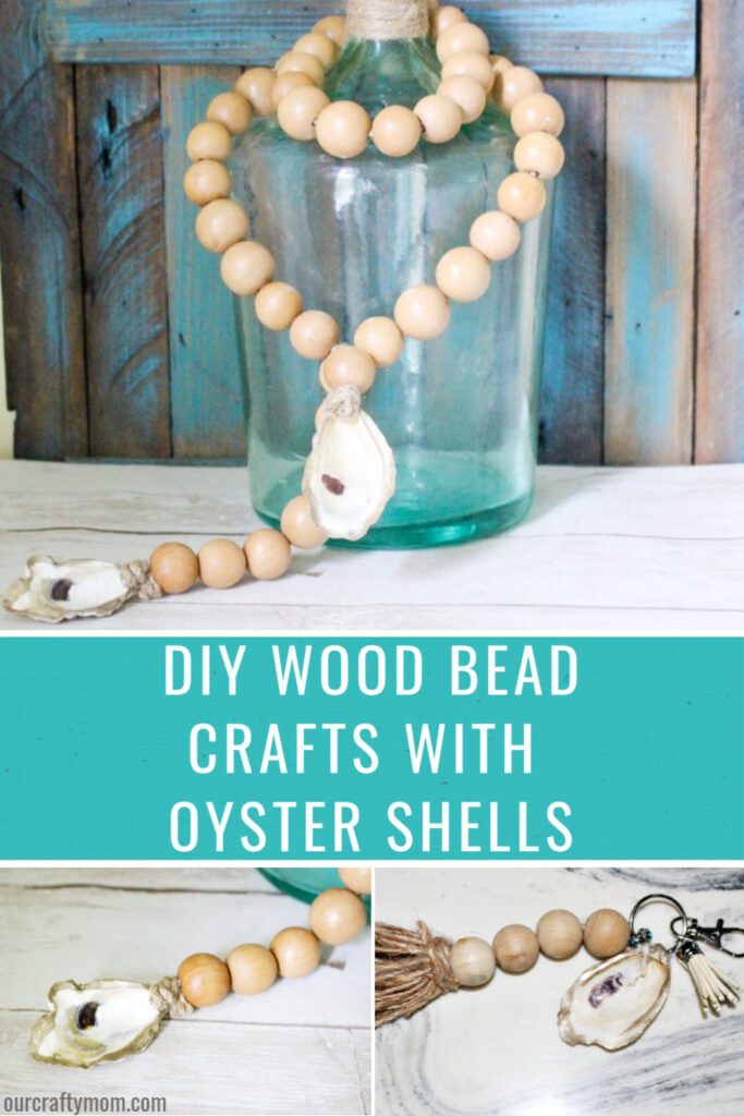 diy wood bead crafts with oyster shells