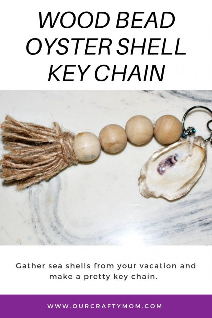wood bead key chain with oyster shell
