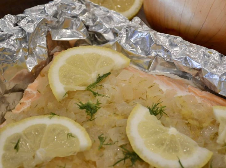 Salmon in Foil with Caramelized Onions