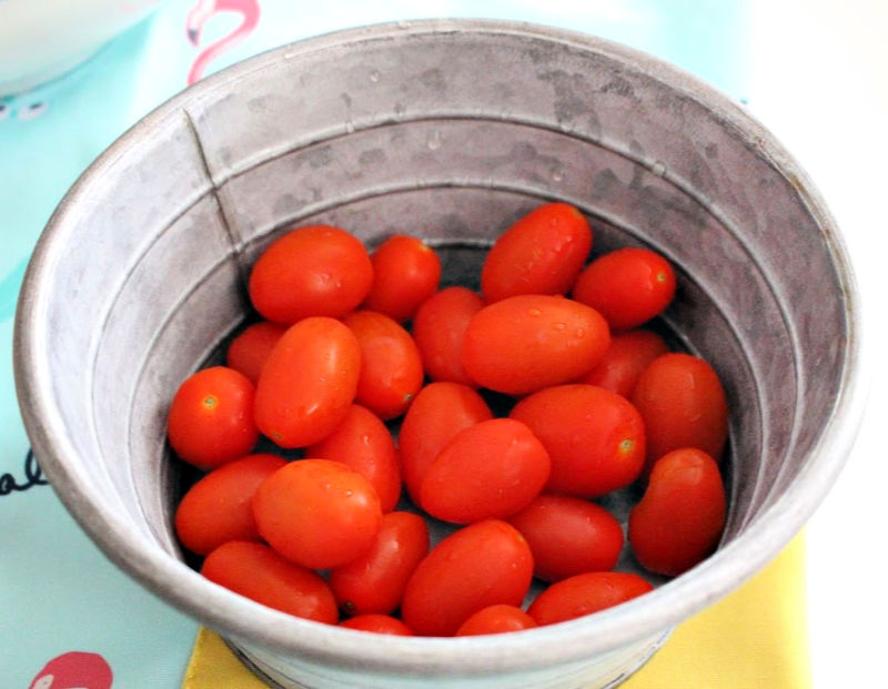 garden tomatoes in container